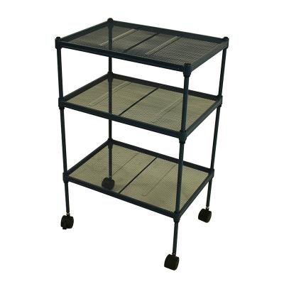 3 Tiers Metal Shelves with wheels , Steel Service Cart