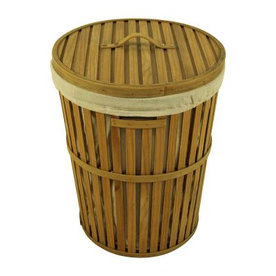 Round Wooden Laundry Hamper with Lid