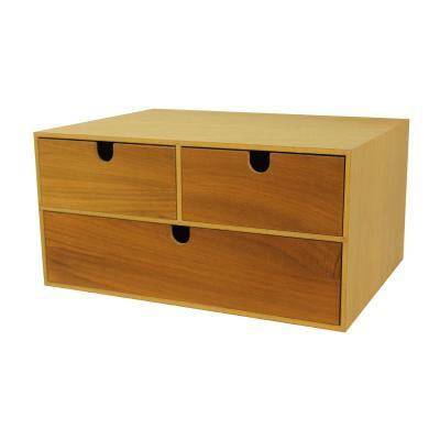 Wood Desktop Office Organizer, 3 Drawers/ Storage Cabinet