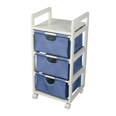 3 Tier Rolling Cart with Cloth basket , Storage Trolley on Wheels