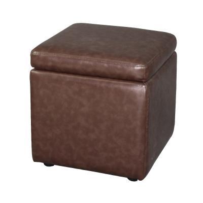 Square Storage Ottoman Stool with Plastic Leg