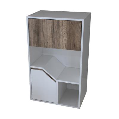White and Weathered Brown High Gloss lacquer Cabinet (A)