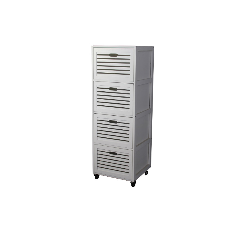 White 4-Tier Storage  with Casters