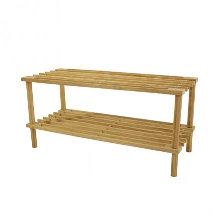 Wood 2-Tier Shoe Rack Easy Assembly, No Tools Required