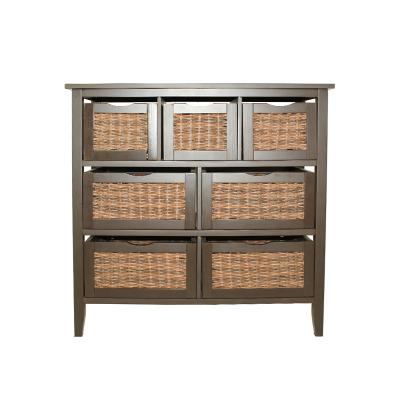 7-Drawer Storage Organizer Unit with Woven Baskets