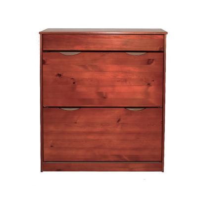 2 Drawer Shoe Cabinet-Dark Brown