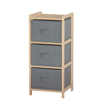Wood 3 Drawer Chest, Pull Out Fabric Bins, Natural